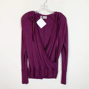Athleta | burgandy hooded wrap front sweater